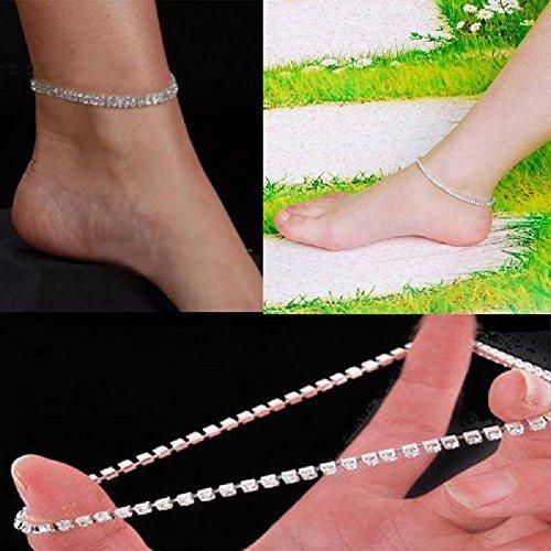 NeDonald Stretchable Elastic Full RhinAnklet Ankle Foot Jewelry Barefoot Bracelet Bangle 1 Layer by NeDonald (Image #2)