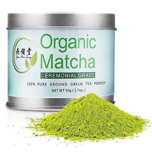 Yan Hou Tang Organic Matcha Green Tea Powder Ceremonial Grade - 50 Gram 1.8oz Japanese Classic Antioxidants Food Drink coffee ice cream Baking Recipes