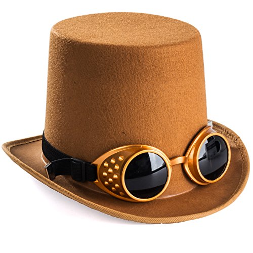 Tigerdoe Costume Hats - Top Hat w/Bow Tie - Costume Accessory Set - Brown Hat w/Neck Tie (Steampunk Hat with Goggles) -