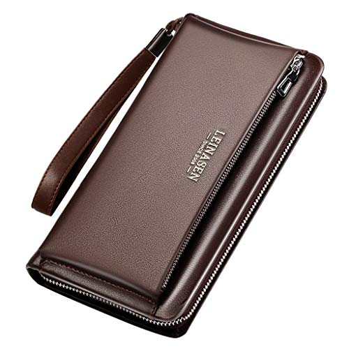 Men's Wallet,PAQOZ Business Multi-function Card Holder Wallet First Layer Cowhide Leather (Kitty Hello Vuitton Purse Louis)