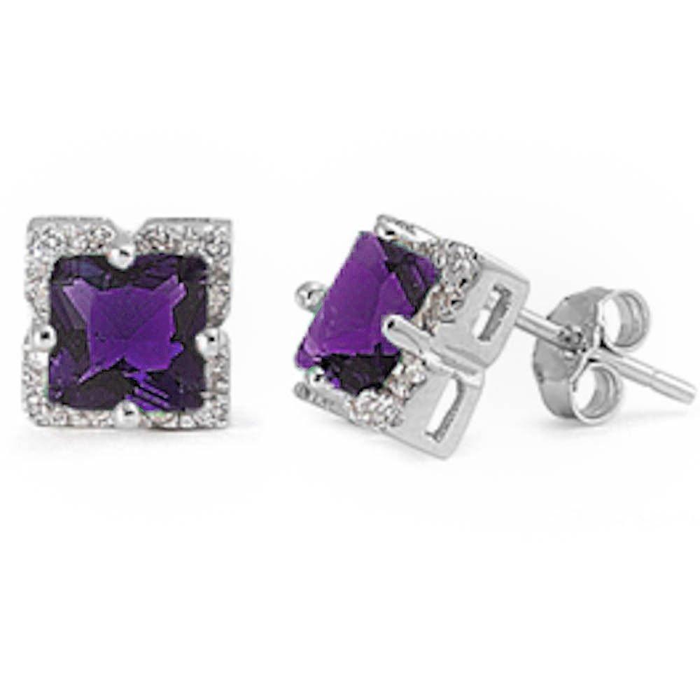 Elegant Princess Cut Amethyst Cz .925 Sterling Silver Earring