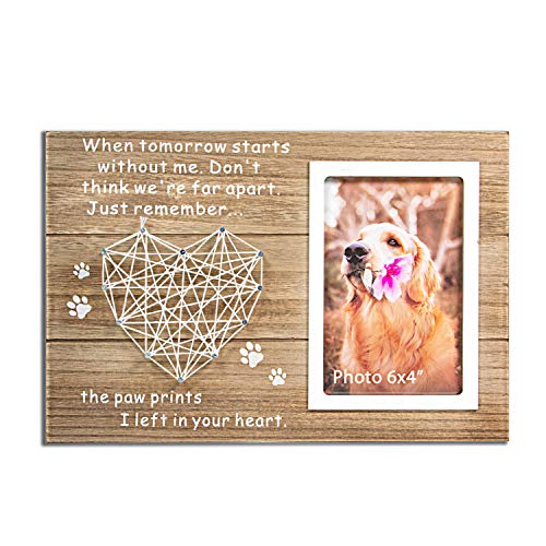 VILIGHT Dog and Cat Memorial Gifts - Paw Prints Sympathy Picture Frame for Pet Loss with Card - for 4x6 Inches Photo