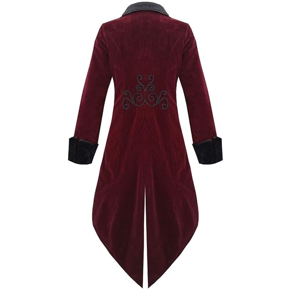 Blazer Uomo ASHOP Maniche Lunghe Elegante Vestito Cappotto Giacca Blazers da Cerimonia retr/ò in Stile Gotico A Coda di Rondine Rosso Large