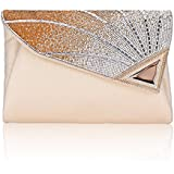 Clutch Purse For Women Formal Ladies Rhinestone Clutch handbags Leather Clutch Bag Wedding Bridal Cocktail With Strap(gold)