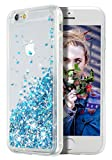 WORLDMOM iPhone 6 Case, iPhone 6S Case, Double Layer Design Bling Flowing Liquid Floating Sparkle Colorful Glitter Waterfall TPU Protective Phone Case for iPhone 6 6s 4.7', Blue