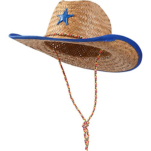 Blue Straw Sheriff Hat - Child Size - Child's Straw Sheriff Hat With Blue Trim And Star (Lone Cowboy Adult Costume)