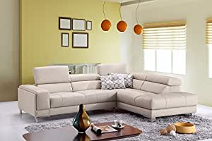 A990 Italian Leather Right Hand Facing Chaise Sectional