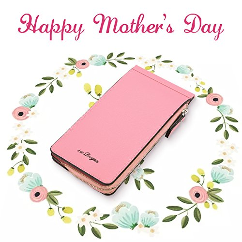 Tezoo Women Microfiber Leather Multi-Card Slots Card holders Phone Bag Thin Wallet With Zipper Pocket,Pink,3.94in x 0.59in x 7.48in (L x W x H) (Pink Bag Microfiber)