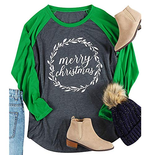(Fheaven Women's Christmas T shirt Large Size Merry Christmas Alphabet Print Long Sleeve Stripe Top T-Shirt (2XL, GREEN 2))