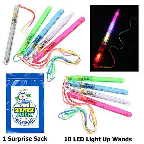 10 Pack LED Party Favor Glow Wands (8 inch long, flashing 7 modes) with 1 Super Secret Surprise Sack (Pink Tie Dye Lanyard compare prices)
