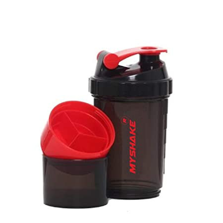 My Shake Black Spider Protein Shaker Bottle for Gym with 2 Storage Compartment   450ml  Pack of 1