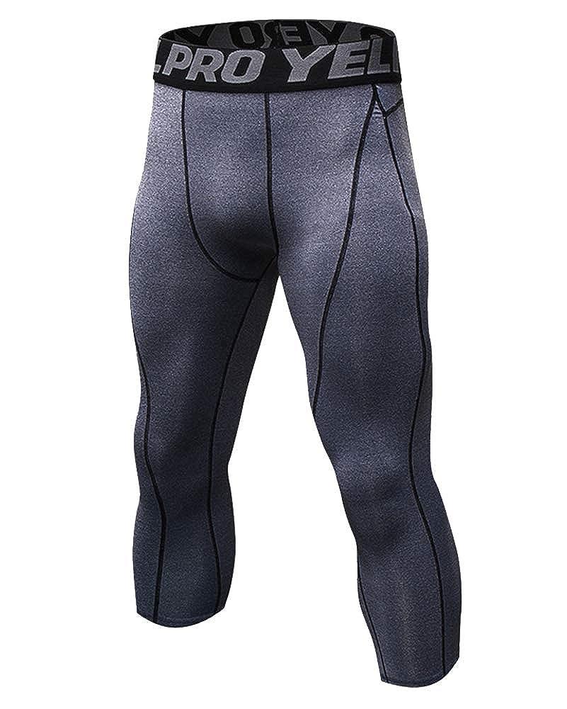 GladiolusA Uomo Capri Pantaloni 3/4 Leggings Compressione Fitness Palestra Asciugatura Rapida