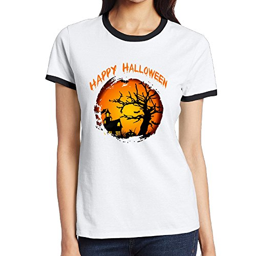 [LOYRA Women's Cotton Happy Halloween Running Tee Black S] (Halloween Toronto Costumes)