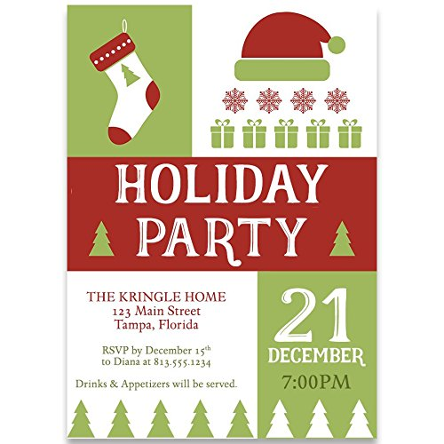 Holiday Party Invitations, Happy Holidays, Red, Green, Stocking,