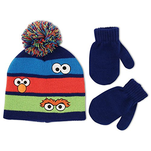 Elmo Hats (Sesame Street Toddler Boys Beanie Hat and Mitten Cold Weather Set, Age 2-5)