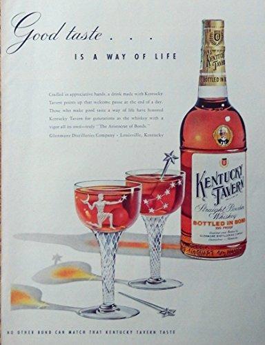 Kentucky Tavern Whiskey, 50's print ad. full page color illustration (way of life) original 1953 Life Magazine -