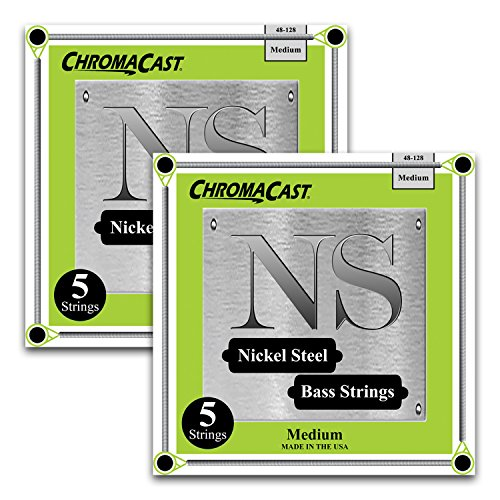 Plated Guitar Bass Strings Nickel (ChromaCast BS-5-NS-M-2PK Nickel Plated Bass Guitar Strings, Medium 5-String, 2 Pack)