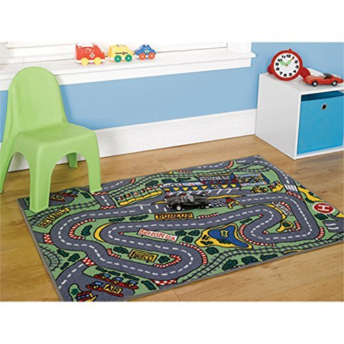 Just Contempo Kids Race Track Rug, Grey, 80x120 cm by Just Contempo