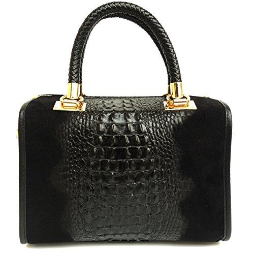 Imprimé Italy et noir Croco cuir crocodile daim Isa Sac Motif véritable à bandoulière en Superflybags Made H8qgO