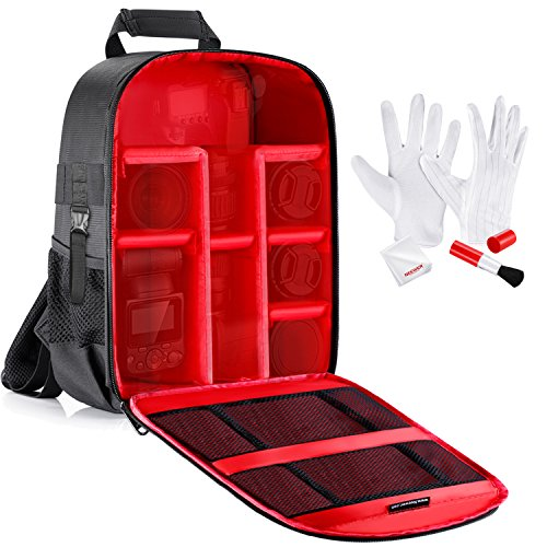 Neewer Camera Case Waterproof Shockproof 11.8x5.5x14.6 inches/30x14x37 centimeters Camera Backpack Bag with Tripod Holder and Cleaning Kit for DSLR,Mirrorless Camera,Flash,Lens and Other Accessories