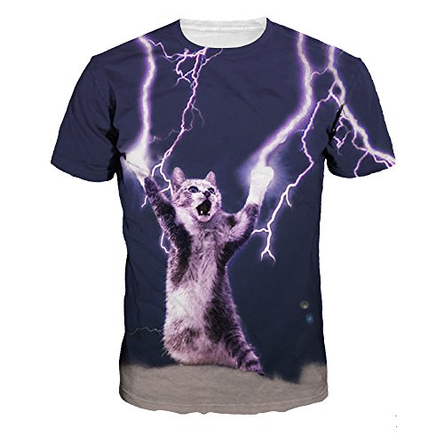 ColorFino Unisex Funny 3D Printing Lightning Cat T-shirt Hipster Clothing by ColorFino