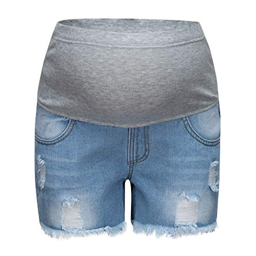 RIUDA Women's Maternity Low-Rise Elastic Band Waist Denim Jean Hole Lounge Shorts Pregnancy Short Pants Light Blue