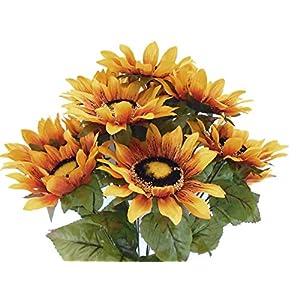 "JumpingLight Gold Yellow Sunflowers Bush 11 Artificial Silk Flowers 21"" Bouquet 3023YL Artificial Flowers Wedding Party Centerpieces Arrangements Bouquets Supplies"