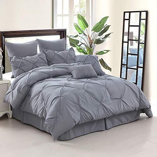 (slashome Queen Comforter Set, 8Pcs Pinch Pleat Bedding Set in a Bag Gray Solid Microfiber Bed Comforter)