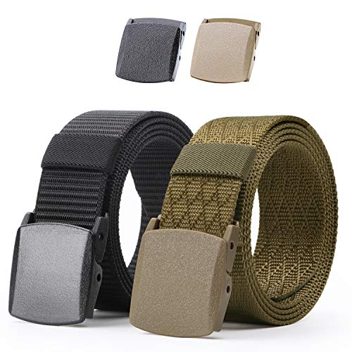 - Nylon Military Tactical Men Belt 2 Pack Webbing Canvas Outdoor Web Belt With Plastic Buckle