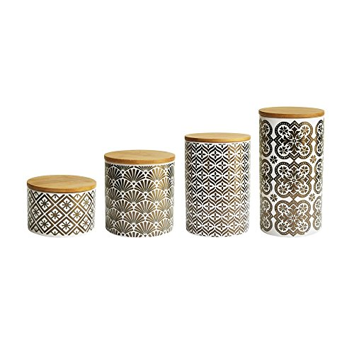 Metallic Gold White Earthenware 4-piece Canister Set