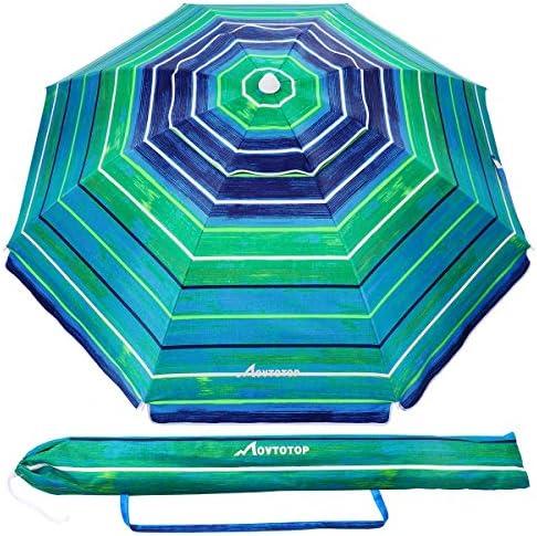 MOVTOTOP Beach Umbrella, 6.5ft Beach Umbrella with Sand Anchor Tilt Mechanism, Portable UV 50 Protection Beach Umbrella with Carry Bag for Patio Garden Beach Outdoor Dark Green Stripe