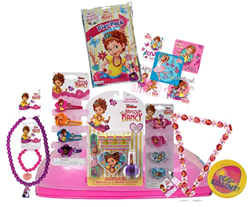 Fancy Nancy Girl's 12pc Pre Filled Jumbo Easter Egg Gift Set! Includes Stickers, Favors & Accessories! Plus Holographic Easter - Fancy Easter Eggs