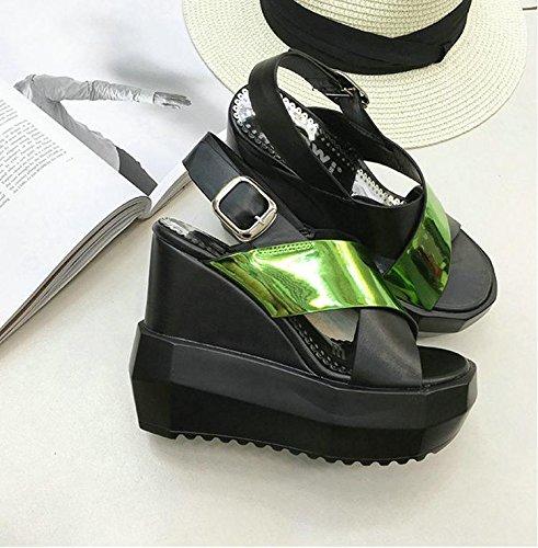 Scarpe cunei Talloni Lvyuan Sandali Casuale Green Romane Cn35 Delle Donne inarcamento Stile Estivi Di Inferiori moda x7qpzPwx