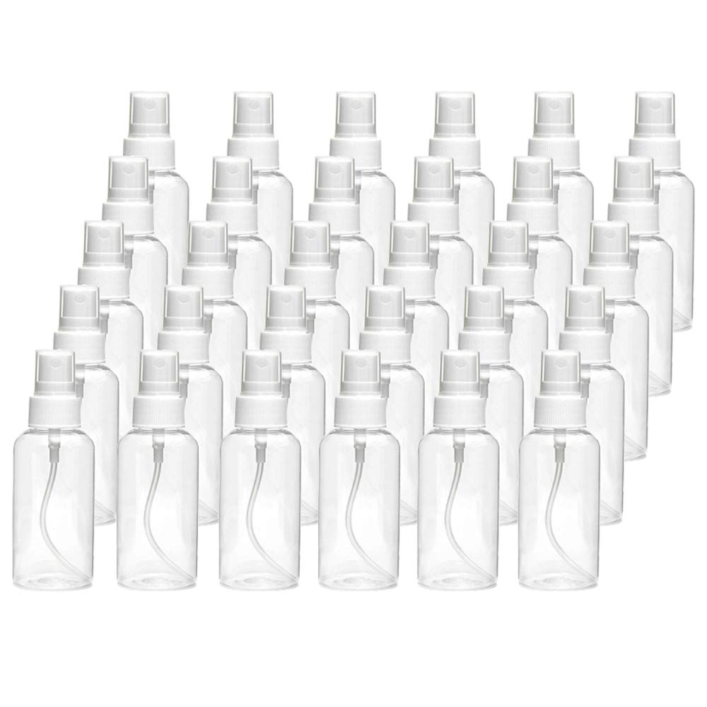 30 Pack 30ml(1oz) Fine Mist Mini Clear Spray Bottles with Pump Spray Cap Refillable-Reusable Empty Plastic Bottles Travel Bottle for Essential Oils,Travel,Perfumes