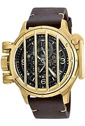 Invicta Men's Vintage Brown Leather Band Steel Case Swiss Quartz Black Dial Analog Watch 20255