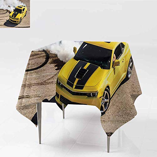 DILITECK Square Tablecloth Manly Yellow Sports Car Drifting Smoke Fast Speed Competition Motion Capture Picture Table Decoration W70 xL70 Yellow Warm Taupe