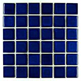 Vogue Premium Quality 2'' x 2'' Cobalt Blue Square Pattern Porcelain Mosaic Tile on Mesh on 12x12 sheet, Designed in Italy (5)