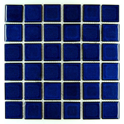 Vogue Premium Quality 2'' x 2'' Cobalt Blue Square Pattern Porcelain Mosaic Tile on Mesh on 12x12 sheet, Designed in Italy (1) by Vogue
