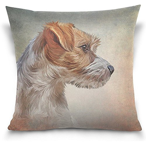 Starmiami Jack Russell Terrier Dog Square Throw Pillow Case Cotton Velvet Cushion Cover 18x18 inch
