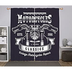 2 Panel Set Window Drapes Kitchen Curtains,Man Cave Decor Custom Motorbikes Chopper Classics Monochrome Emblem Freedom Passion Decorative Dark Blue White,for Bedroom Living Room Dorm Kitchen Cafe