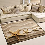 Cheap Naanle Ocean Beach Theme Area Rug 5'x7′, Starfish on Sandy Beach Polyester Area Rug Mat for Living Dining Dorm Room Bedroom Home Decorative