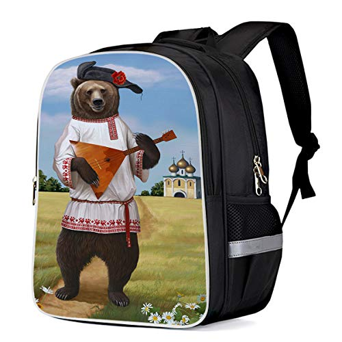 (Lightweight Backpack for Students- The Russian Bear Playing Balalaika- Unisex Casual Daypack Elementary School Bags Printing Travel Laptop Bag)