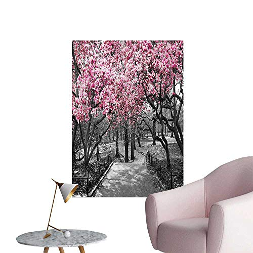 Wall Decals Blossoms in Central Park Cherry Bloom Trees Forest Spring Springtime Landscape Environmental Protection Vinyl,24