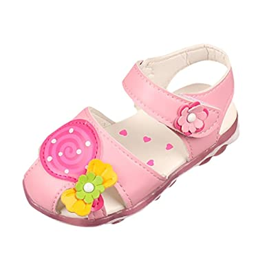 a1fda5ce12499 Amazon.com: FORESTIME_baby shoes Cute Newborn Baby Girls Toddler Infant PU  Leather Flower Rubber Sole Non Slip Summer Sandals Shoes: Clothing