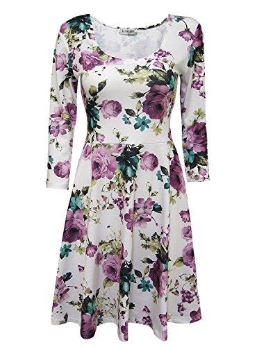Tom's Ware Women Elegant Floral Print Long Sleeve Scoop Neck Flare Dress TWCWD100-WHITEPURPLE-US L
