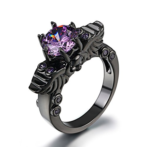 FENDINA Womens Vintage Black Gold Plated Wedding Engagement Rings Double Dragon Head 6 Prong Created Amethyst Solitaire Anniversary Promise Rings, Size 10