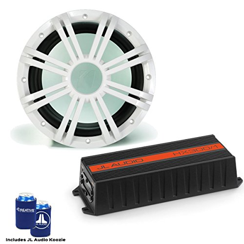 "Kicker JL Audio HX300/1 Marine Subwoofer Amplifier with KMW102 10"" White LED Marine Subwoofer"