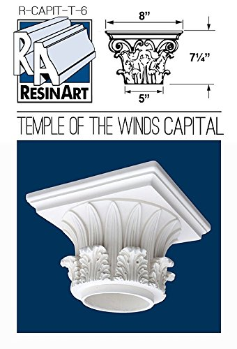 Fiberglass Columns (Temple of the Winds Capital for Hollow Column - S Size - Composite Resin - Unfinished - Paint Ready - Load Bearing - Dimensions In Images/Details)