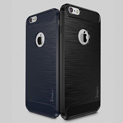 IPAKY für iPhone 6s 6 Drop-proof Brushed TPU Tasche Hüllen Schutzhülle Case with Carbon Fiber Decorated - schwarz