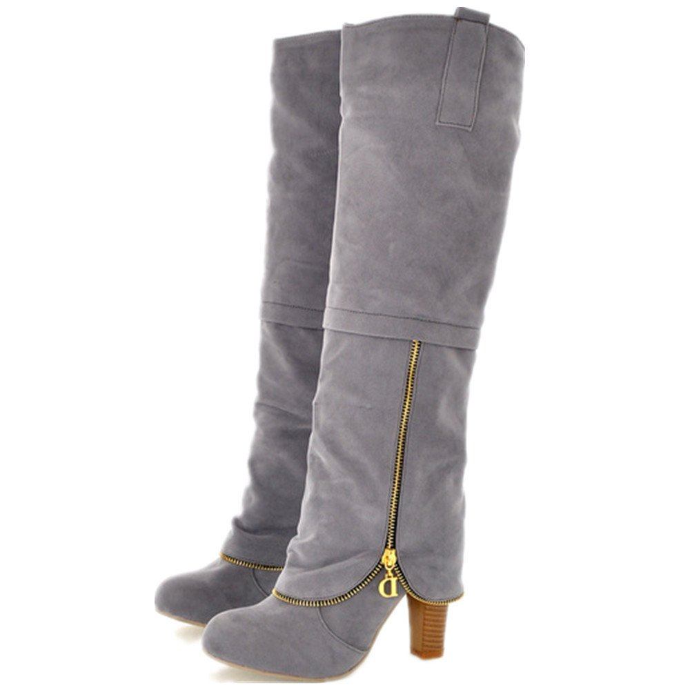 Womens Nubuck Suede Zipper Winter Snow Heavy Thick Long Plush Lining Warm Cold Weather Chunky Heel Over The Knee High Boots Long Snow Boots